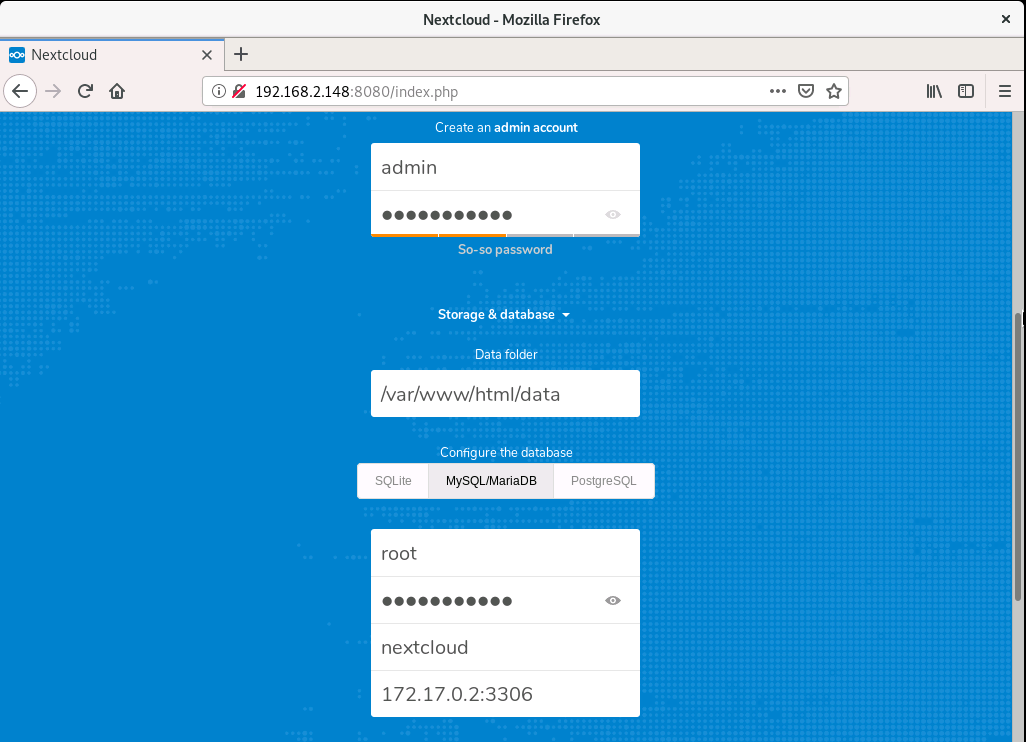 nextcloud configuration screen