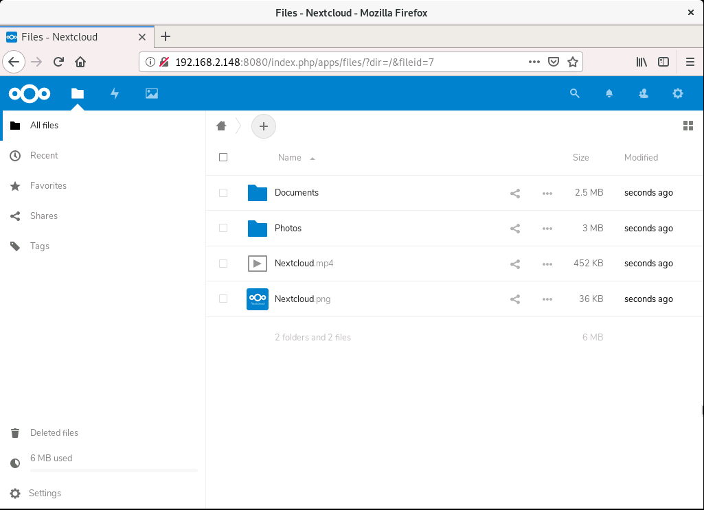 nextcloud dashboard